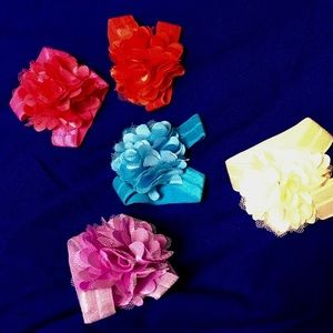 Other - Bundle of 10 Chiffon and Tulle Floral Hair Ties